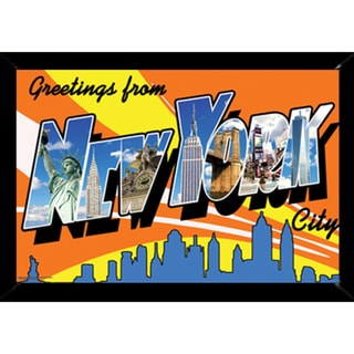 NYC Postcard Print with Contemporary Poster Frame (24 x 36)