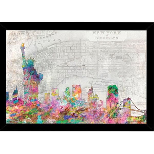 NYC Skyline Print with Traditional Black Frame (36 x 24)