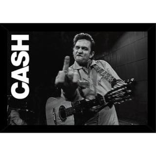 Johnny Cash - San Quentin Finger Print with Traditional Black Frame (36 x 24)