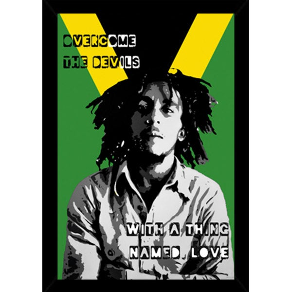 Bob Marley - Collage Print with Contemporary Poster Frame (24 x 36)