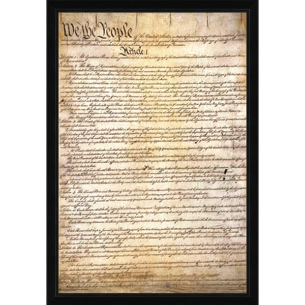 US Constitution Print with Traditional Black Frame (24 x 36)