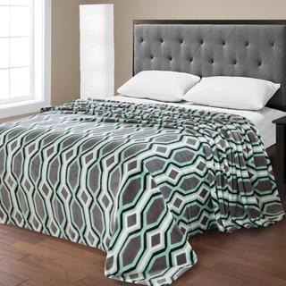 Ultra Plush Double Brushed Geometric Print Micro Fleece Blanket
