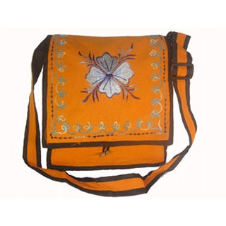 Orange Cotton Shoulder Bag with Hand-stitched Floral Embroidery (Nepal)