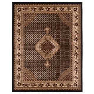 Brillante Rectangular Oriental Ebony Area Rug (4'11 x 7'8)