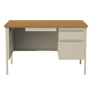 30 x 48-inch Tan Steel Right Single Pedestal Desk