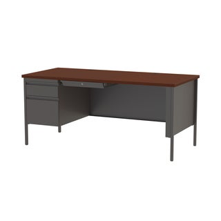 30 x 66-inch Charcoal/Mahogany Steel Left Single Pedestal Desk