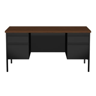 30 x 60-inch Black/Walnut Steel Double Pedestal Desk