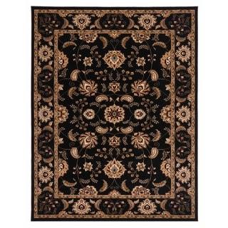 Brillante Oriental Ebony Rectangle Area Rug (4'11 x 7'8)