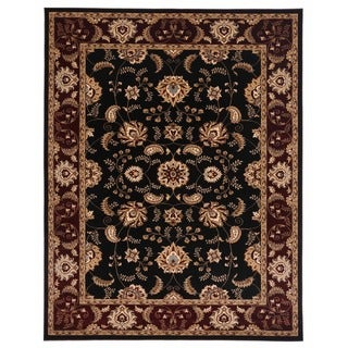 Brillante Oriental Ebony Rectangular Area Rug (4'11 x 7'8)