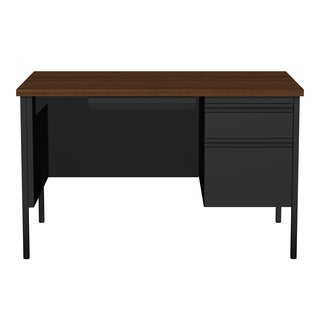 30 x 48-inch Black/Walnut Steel Right Single Pedestal Desk