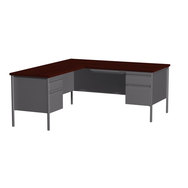 66 X 72 Inch Charcoal Mahogany Steel Pedestal Desk With