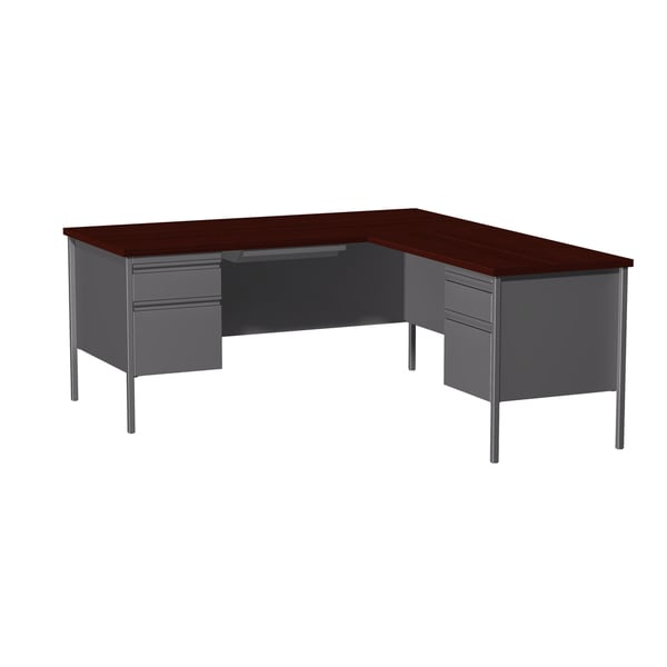 66x72-inch Grey Steel Pedestal Desk with Right Return
