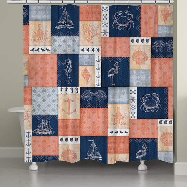 Laural home navy and coral coastal patchwork shower curtain 72x72