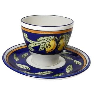 Le Souk Ceramique Set of 4 Citronique Design Tea/ Espresso Cup and Saucers (Tunisia)