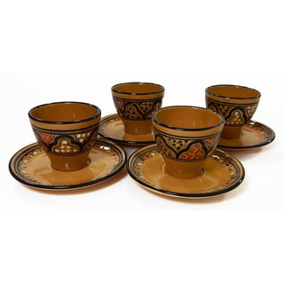 Le Souk Ceramique Set of 4 Honey Design Tea/ Espresso Cup and Saucers (Tunisia)