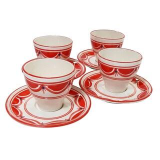 Le Souk Ceramique Set of 4 Nejma Design Tea/ Espresso Cup and Saucers (Tunisia)