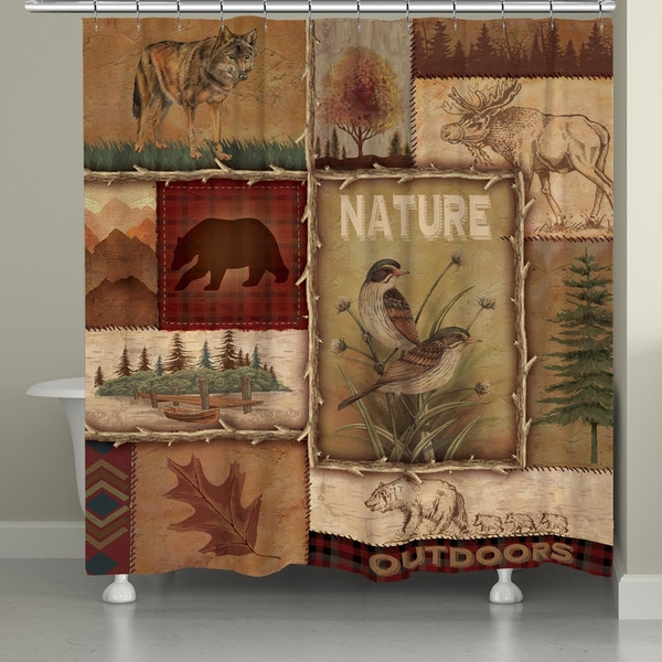 Laural Home Nature Lodge Collage Shower Curtain 72x72 - 17855735 ...