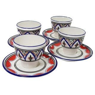 Le Souk Ceramique Set of 4 Tabarka Design Tea/ Espresso Cup and Saucers (Tunisia)