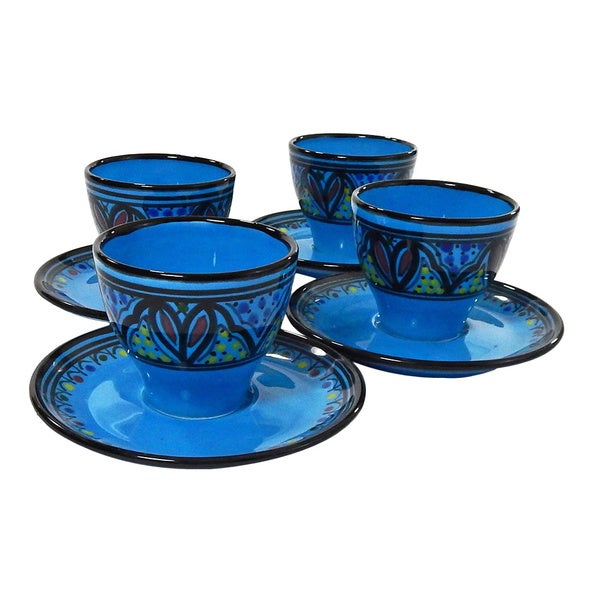 Le Souk Ceramique Set of 4 Sabrine Design Tea/ Espresso Cup and Saucers (Tunisia)