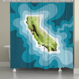Laural Home California Topographic Abstract Map Shower Curtain 71x74