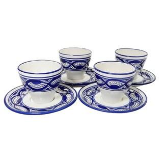 Le Souk Ceramique Set of 4 Qamara Design Tea/ Espresso Cup and Saucers (Tunisia)