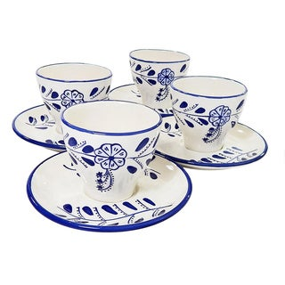 Le Souk Ceramique Set of 4 Azoura Design Tea/ Espresso Cup and Saucers (Tunisia)