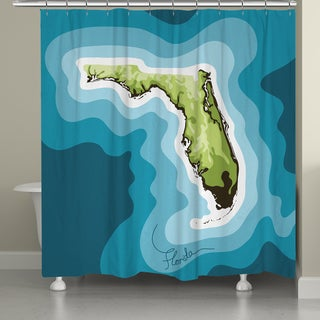 Laural Home Florida Topographic Abstract Map Shower Curtain 71x74