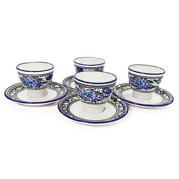 Le Souk Ceramique Set of 4 Aqua Fish Design Tea/ Espresso Cup and Saucers (Tunisia)
