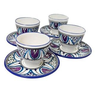 Le Souk Ceramique Set of 4 Malika Design Tea/ Espresso Cup and Saucers (Tunisia)
