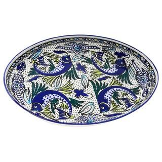 Le Souk Ceramique Poultry Platter - Aqua Fish Design (Tunisia)