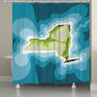 Laural Home New York Topographic Abstract Map Shower Curtain 71x74