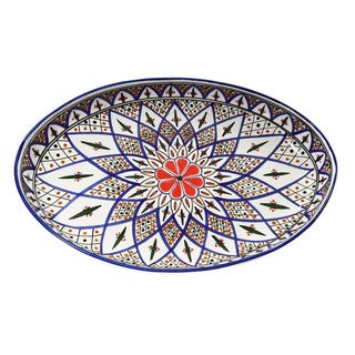 Le Souk Ceramique Tabarka Design Poultry Platter (Tunisia)