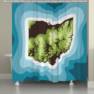 Laural Home Ohio Topographic Abstract Map Shower Curtain 71x74