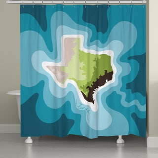 Laural Home Texas Topographic Abstract Map Shower Curtain 71x74