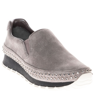 Prada Studded Suede Slip-On Sneaker