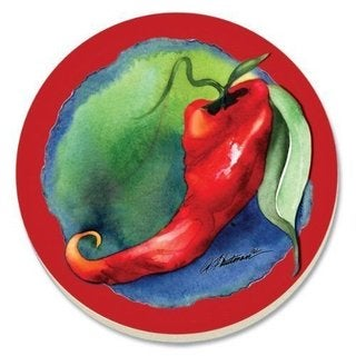 Hot Hot Chili Pepper Absorbent Stone Coasters (Set of 4)