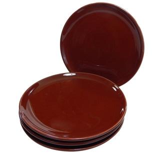 Le Souk Ceramique Set of 4 Solid Brown Dinner Plates (Tunisia)