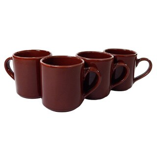 Le Souk Ceramique Set of 4 Solid Brown Coffee Mugs (Tunisia)