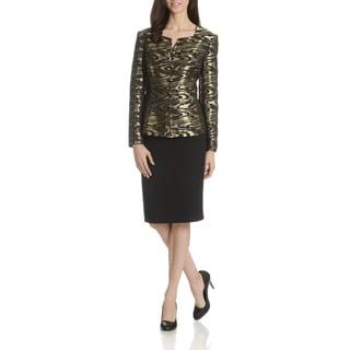 Danillo Women's Metallic Abstract Print 2-Piece Skirt Suit