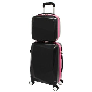 World Traveler Diamond Black/Pink 2-Piece Carry-on Hardside Spinner Luggage Set