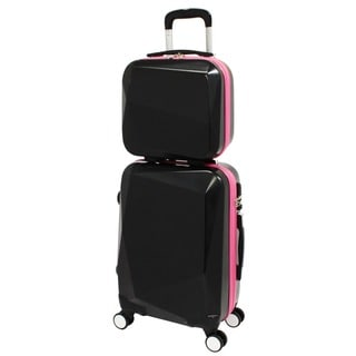 World Traveler Diamond Black/Pink 2-Piece Carry-on Hardside Spinner Luggage Set