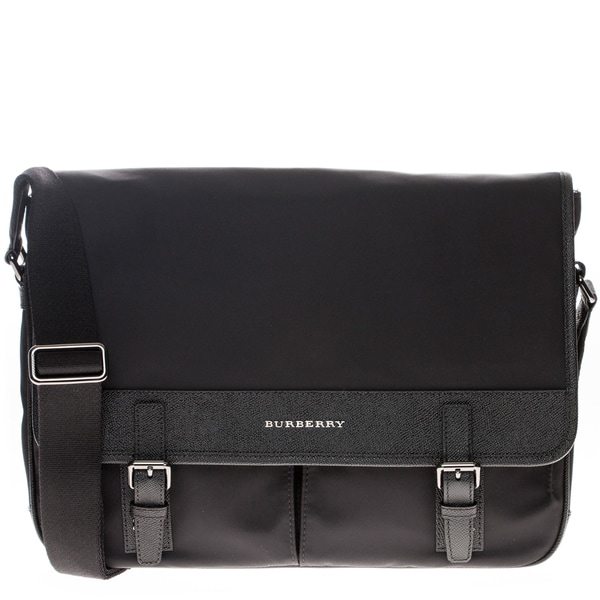 Burberry London Nylon and Leather Messenger Bag