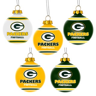 Forever Collectibles Green Bay Packers Shatterproof Ball Ornament Set