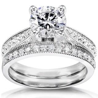 Annello 14k White Gold Forever One Moissanite and 1/3ct TDW Diamond Bridal Set (G-H, I1-I2)