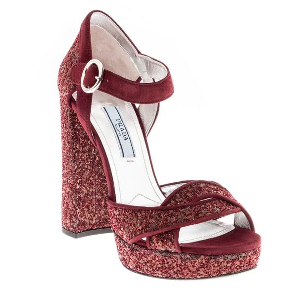 Prada Glitter Platform Suede Sandals