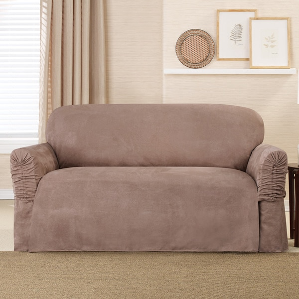 Sure Fit Faux Suede Cinched Arm and Ruffle Loveseat Slipcover