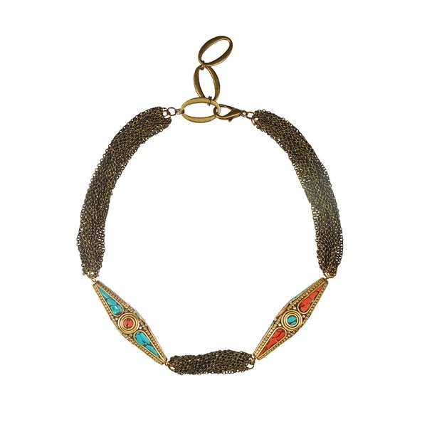 Tibetian Copper Red and Turquoise Bead With Iron Chain Necklace 17-21-Inch (China)
