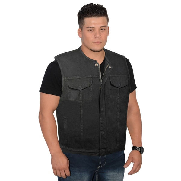 Men's Collarless Denim Club Vest