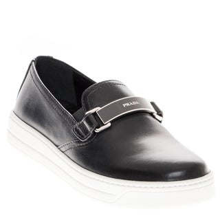 Prada Leather Logo Plated Slip-on Sneaker
