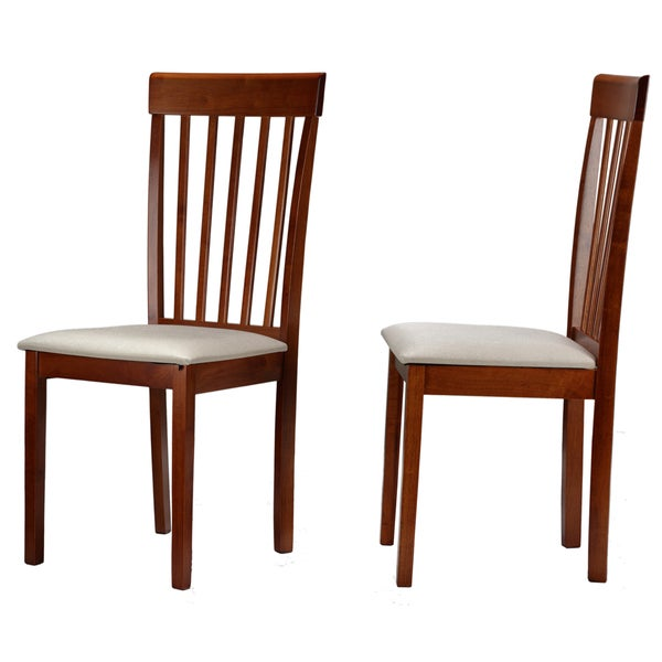 Cortesi Home Cindy Dining Chair with Slat Back in Antique Cherry Wood Finish and Cream Fabric Cushion (Set of 2)